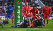11 May 2019; Maro Itoje of Saracens is held up short of the try line by James Lowe of Leinster during the Heineken Champions Cup Final match between Leinster and Saracens at St James' Park in Newcastle Upon Tyne, England. Photo by Brendan Moran/Sportsfile