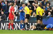 11 May 2019; Jonathan Sexton of Leinster remonstrates with referee Jérome Garcès during the Heineken Champions Cup Final match between Leinster and Saracens at St James' Park in Newcastle Upon Tyne, England. Photo by David Fitzgerald/Sportsfile