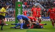 11 May 2019; Maro Itoje of Saracens is held up short of the try line by James Lowe of Leinster as Scott Fardy of Leinster engages during the Heineken Champions Cup Final match between Leinster and Saracens at St James' Park in Newcastle Upon Tyne, England. Photo by Brendan Moran/Sportsfile