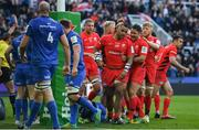 11 May 2019; Billy Vunipola of Saracens celebrates with team-mates after scoring his side's second try uring the Heineken Champions Cup Final match between Leinster and Saracens at St James' Park in Newcastle Upon Tyne, England. Photo by Brendan Moran/Sportsfile