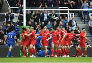 11 May 2019; Saracens players celebrate their side's second try scored by Billy Vunipola during the Heineken Champions Cup Final match between Leinster and Saracens at St James' Park in Newcastle Upon Tyne, England. Photo by David Fitzgerald/Sportsfile