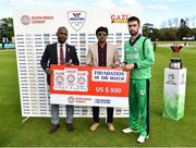 11 May 2019; Andrew Balbirnie of Ireland is presented with his award for excellence on the field by Dr Kishore Shallow, Vice President of Cricket West Indies and Mohammod Firoj Alam, Deputy Executive Director of Marketing, Walton Group, during the One Day International match between Ireland and West Indies at Malahide Cricket Ground, Malahide, Dublin.  Photo by Seb Daly/Sportsfile
