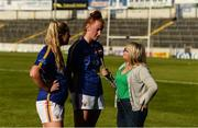 11 May 2019; Aishling Moloney, centre, and Anna Rose Kennedy, left, are interviewed by Valerie Wheeler of Spin South West after the Munster Ladies Football Intermediate Championship match between Tipperary and Limerick at Semple Stadium in Thurles, Co. Tipperary. Photo by Diarmuid Greene/Sportsfile
