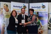 11 May 2019; Gareth Fulton collects the Male U19 Schools Player of the Year Award on behalf of CJ Fulton from St Malachy's of Belfast from Lorna Finnegan, PPSC, left, and Theresa Walsh, President of Basketball Ireland, during the Basketball Ireland 2018/19 Annual Awards and Hall of Fame at the Cusack Suite, Croke Park in Dublin. Photo by Piaras Ó Mídheach/Sportsfile *** NO REPRODUCTION FEE ***