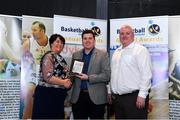 11 May 2019; Brian O'Malley collects the Colleges Division 1 Female Player of the Year Award on behalf of winner Kollyns Scarbrough of Ulster University from Theresa Walsh, President of Basketball Ireland and Patrick O'Neill, chair of the NBCC, during the Basketball Ireland 2018/19 Annual Awards and Hall of Fame at the Cusack Suite, Croke Park in Dublin. Photo by Piaras Ó Mídheach/Sportsfile *** NO REPRODUCTION FEE ***