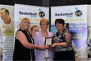 11 May 2019; Mary O'Dwyer accepts the WSL Player of the Year award on behalf of Allie LeClaire of Courtyard Liffey Celtics, from Breda Dick, WNLC, left, and Theresa Walsh, President of Basketball Ireland, during the Basketball Ireland 2018/19 Annual Awards and Hall of Fame at the Cusack Suite, Croke Park in Dublin. Photo by Piaras Ó Mídheach/Sportsfile *** NO REPRODUCTION FEE ***