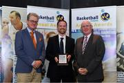 11 May 2019; Gareth Fulton accepts the MSL Young Player of the Year award on behalf of CJ Fulton of Belfast Star from Paul Keane of Reddy Charlton Solicitors, left, and Fran Ryan, Chairperson of the Board of Basketball Ireland, during the Basketball Ireland 2018/19 Annual Awards and Hall of Fame at the Cusack Suite, Croke Park in Dublin. Photo by Piaras Ó Mídheach/Sportsfile *** NO REPRODUCTION FEE ***