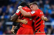 11 May 2019; Owen Farrell, Maro Itoje and Brad Barritt of Saracens celebrate following the Heineken Champions Cup Final match between Leinster and Saracens at St James' Park in Newcastle Upon Tyne, England. Photo by Brendan Moran/Sportsfile