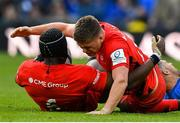11 May 2019; Owen Farrell, right, and Maro Itoje of Saracens celebrate at the final whistle of the Heineken Champions Cup Final match between Leinster and Saracens at St James' Park in Newcastle Upon Tyne, England. Photo by Brendan Moran/Sportsfile