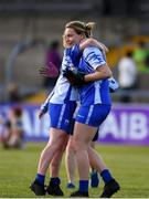 11 May 2019; Rosie Landers of Waterford, right, celebrates with team-mates following the TG4  Munster Ladies Football Senior Championship match between Kerry and Waterford at Cusack Park in Ennis, Clare. Photo by Sam Barnes/Sportsfile