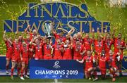 11 May 2019; Saracens players celebrate with the cup following the Heineken Champions Cup Final match between Leinster and Saracens at St James' Park in Newcastle Upon Tyne, England. Photo by David Fitzgerald/Sportsfile