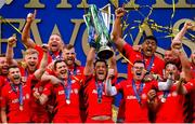 11 May 2019; Saracens captain Brad Barritt lifts the cup following their victory in the Heineken Champions Cup Final match between Leinster and Saracens at St James' Park in Newcastle Upon Tyne, England. Photo by Ramsey Cardy/Sportsfile