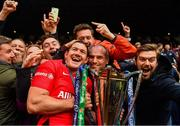 11 May 2019; Alex Goode of Saracens celebrates with the Champions Cup after the Heineken Champions Cup Final match between Leinster and Saracens at St James' Park in Newcastle Upon Tyne, England. Photo by Brendan Moran/Sportsfile