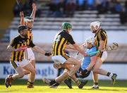 11 May 2019; Liam Rushe of Dublin in action against Kilkenny players, from left, Enda Morrissey, Paddy Deegan, Tommy Walsh and Conor Fogarty during the Leinster GAA Hurling Senior Championship Round 1 match between Kilkenny and Dublin at Nowlan Park in Kilkenny. Photo by Stephen McCarthy/Sportsfile