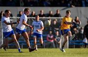 11 May 2019; Cian O'Dea of Clare takes a shot at goal despite the efforts of James McGrath, left, and Brian Looby of Waterford during the Munster GAA Football Senior Championship quarter-final match between Clare v Waterford at Cusack Park in Ennis, Clare. Photo by Sam Barnes/Sportsfile