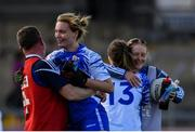 11 May 2019; Rosie Landers of Waterford, centre, celebrates with team-mates and backroom staff following the TG4  Munster Ladies Football Senior Championship match between Kerry and Waterford at Cusack Park in Ennis, Clare. Photo by Sam Barnes/Sportsfile