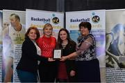 11 May 2019; Girls C School  Award winners St Louis SS, Carrickmacross, Co Monaghan, are presented with the award by Lorna Finnegan, PPSC, left, and Theresa Walsh, President of Basketball Ireland, during the Basketball Ireland 2018/19 Annual Awards and Hall of Fame at the Cusack Suite, Croke Park in Dublin. Photo by Piaras Ó Mídheach/Sportsfile