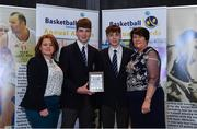 11 May 2019; Boys A School Award winners St Joseph's The Bish, Galway, represented by Joseph Coughlan and Brian Gaffney, are presented with the award by Lorna Finnegan, PPSC, left, and Theresa Walsh, President of Basketball Ireland, during the Basketball Ireland 2018/19 Annual Awards and Hall of Fame at the Cusack Suite, Croke Park in Dublin. Photo by Piaras Ó Mídheach/Sportsfile