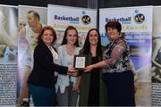11 May 2019; Girls D School Award winners Sacred Heart SS, Drogheda, Co Louth, are presented with the award by Lorna Finnegan, PPSC, left, and Theresa Walsh, President of Basketball Ireland, during the Basketball Ireland 2018/19 Annual Awards and Hall of Fame at the Cusack Suite, Croke Park in Dublin. Photo by Piaras Ó Mídheach/Sportsfile