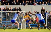 11 May 2019; Gavin Cooney of Clare in action against Conor Murray, left and Shane Aherne of Waterford during the Munster GAA Football Senior Championship quarter-final match between Clare v Waterford at Cusack Park in Ennis, Clare. Photo by Sam Barnes/Sportsfile
