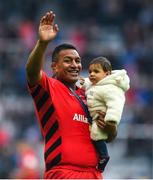11 May 2019; Mako Vunipola of Saracens celebrates with his son Jacob Fe'ao-moe-Lotu following the Heineken Champions Cup Final match between Leinster and Saracens at St James' Park in Newcastle Upon Tyne, England. Photo by David Fitzgerald/Sportsfile