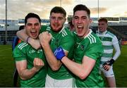 11 May 2019; Limerick players Padraig Scanlon, Brian Fanning, and Paul Maher celebrate after the Munster GAA Football Senior Championship quarter-final match between Tipperary and Limerick at Semple Stadium in Thurles, Co. Tipperary. Photo by Diarmuid Greene/Sportsfile