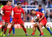 11 May 2019; Billy Vunipola of Saracens is tackled by Rob Kearney of Leinster during the Heineken Champions Cup Final match between Leinster and Saracens at St James' Park in Newcastle Upon Tyne, England. Photo by Ramsey Cardy/Sportsfile
