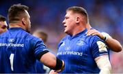 11 May 2019; Tadhg Furlong of Leinster is congratulated on scoring his side's first try by Cian Healy during the Heineken Champions Cup Final match between Leinster and Saracens at St James' Park in Newcastle Upon Tyne, England. Photo by Ramsey Cardy/Sportsfile