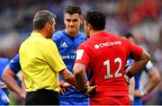 11 May 2019; Referee Jérome Garcès speaks to team captains Jonathan Sexton of Leinster and Brad Barritt of Saracens during the Heineken Champions Cup Final match between Leinster and Saracens at St James' Park in Newcastle Upon Tyne, England. Photo by Ramsey Cardy/Sportsfile