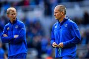 11 May 2019; Leinster senior coach Stuart Lancaster, right, and head coach Leo Cullen ahead of the Heineken Champions Cup Final match between Leinster and Saracens at St James' Park in Newcastle Upon Tyne, England. Photo by Ramsey Cardy/Sportsfile
