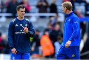 11 May 2019; Jonathan Sexton of Leinster in conversation with Leinster head coach Leo Cullen ahead of the Heineken Champions Cup Final match between Leinster and Saracens at St James' Park in Newcastle Upon Tyne, England. Photo by Ramsey Cardy/Sportsfile