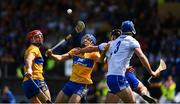 12 May 2019; Shane O'Donnell of Clare, supported by John Conlon, in action against Noel Connors and Conor Prunt, 3, of Waterford during the Munster GAA Hurling Senior Championship Round 1 match between Waterford and Clare at Walsh Park in Waterford. Photo by Ray McManus/Sportsfile