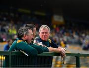 12 May 2019; Leitrim manager Terry Hyland, right, with backroom staff Pádraig McGourty and Gary Donohue prior to the Connacht GAA Football Senior Championship Quarter-Final match between Roscommon and Leitrim at Dr Hyde Park in Roscommon. Photo by Seb Daly/Sportsfile
