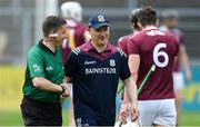 12 May 2019; Galway manager Micheál Donoghue with referee Colm Lyons before the Leinster GAA Hurling Senior Championship Round 1 match between Galway and Carlow at Pearse Stadium in Galway. Photo by Piaras Ó Mídheach/Sportsfile