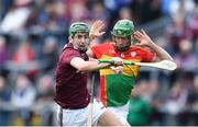 12 May 2019; Brian Concannon of Galway in action against David English of Carlow during the Leinster GAA Hurling Senior Championship Round 1 match between Galway and Carlow at Pearse Stadium in Galway. Photo by Piaras Ó Mídheach/Sportsfile