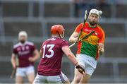 12 May 2019; Jack Kavanagh of Carlow in action against Conor Whelan of Galway during the Leinster GAA Hurling Senior Championship Round 1 match between Galway and Carlow at Pearse Stadium in Galway. Photo by Piaras Ó Mídheach/Sportsfile