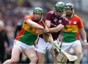 12 May 2019; David English of Carlow in action against Brian Concannon of Galway during the Leinster GAA Hurling Senior Championship Round 1 match between Galway and Carlow at Pearse Stadium in Galway. Photo by Piaras Ó Mídheach/Sportsfile