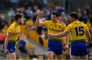 12 May 2019; Shane Killoran of Roscommon, left, is congratulated by team-mates Tadhg O'Rouke, centre, and Diarmuid Murtagh, after scoring his side's second goal of the game during the Connacht GAA Football Senior Championship Quarter-Final match between Roscommon and Leitrim at Dr Hyde Park in Roscommon. Photo by Seb Daly/Sportsfile