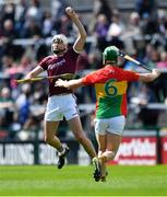 12 May 2019; Jason Flynn of Galway in action against David English of Carlow during the Leinster GAA Hurling Senior Championship Round 1 match between Galway and Carlow at Pearse Stadium in Galway. Photo by Piaras Ó Mídheach/Sportsfile