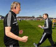 12 May 2019; Clare joint manager Donal Moloney and Mark Dunphy, right, react at the final whistle during the Munster GAA Hurling Senior Championship Round 1 match between Waterford and Clare at Walsh Park in Waterford. Photo by Ray McManus/Sportsfile