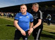 12 May 2019; Clare joint manager Donal Moloney and Waterford manager Paraic Fanning after the final whistle during the Munster GAA Hurling Senior Championship Round 1 match between Waterford and Clare at Walsh Park in Waterford. Photo by Ray McManus/Sportsfile