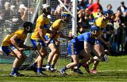 12 May 2019; Clare goalkeeper Donal Touhy with  David McInerney, Patrick O'Connor, Seadhna Morey and  David Fitzgerald  prepare to defend a late Waterford free during the Munster GAA Hurling Senior Championship Round 1 match between Waterford and Clare at Walsh Park in Waterford. Photo by Ray McManus/Sportsfile
