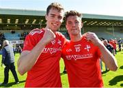 12 May 2019; Conor Early and Declan Byrne of  Louth celebrate after the Leinster GAA Football Senior Championship Round 1 match between Wexford and Louth at Innovate Wexford Park in Wexford.   Photo by Matt Browne/Sportsfile