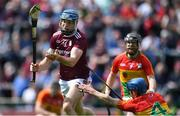 12 May 2019; Conor Cooney of Galway shoots despite the efforts of Carlow players Michael Doyle, right, and Richard Cody before his goal was ruled out for overcarrying during the Leinster GAA Hurling Senior Championship Round 1 match between Galway and Carlow at Pearse Stadium in Galway. Photo by Piaras Ó Mídheach/Sportsfile