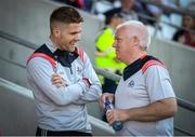 12 May 2019; Alan Cadogan of Cork with kitman Pat Keane prior to the Munster GAA Hurling Senior Championship Round 1 match between Cork and Tipperary at Pairc Ui Chaoimh in Cork. Photo by Diarmuid Greene/Sportsfile