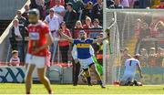 12 May 2019; John McGrath of Tipperary celebrates after scoring his side's second goal past Cork goalkeeper Anthony Nash during the Munster GAA Hurling Senior Championship Round 1 match between Cork and Tipperary at Pairc Ui Chaoimh in Cork. Photo by Diarmuid Greene/Sportsfile