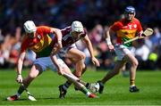 12 May 2019; Jason Flynn of Galway in action against Kevin McDonald of Carlow as Eoin Nolan of Carlow, right, looks on during the Leinster GAA Hurling Senior Championship Round 1 match between Galway and Carlow at Pearse Stadium in Galway. Photo by Piaras Ó Mídheach/Sportsfile