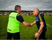 12 May 2019; Leitrim manager Terry Hyland, left, and Roscommon manager Anthony Cunningham shake hands following the Connacht GAA Football Senior Championship Quarter-Final match between Roscommon and Leitrim at Dr Hyde Park in Roscommon. Photo by Seb Daly/Sportsfile