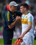 12 May 2019; Offaly manager John Maughan consoles Niall McNamee of Offaly following the Leinster GAA Football Senior Championship Round 1 match between Meath and Offaly at Páirc Tailteann, Navan in Meath. Photo by Brendan Moran/Sportsfile