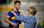 12 May 2019; Cathal Barrett of Tipperary is congratulated by former Tipperary PRO Liz Howard following the Munster GAA Hurling Senior Championship Round 1 match between Cork and Tipperary at Pairc Ui Chaoimh in Cork. Photo by David Fitzgerald/Sportsfile